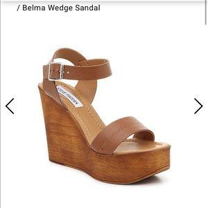 ❤️Steve Madden Belma tan leather sandal wedges 8
